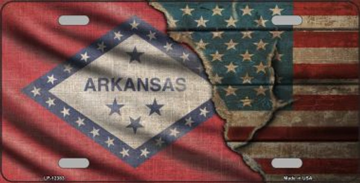 Arkansas/American Flag Novelty Metal License Plate LP-12383
