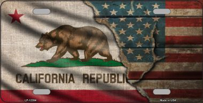 California/American Flag Novelty Metal License Plate LP-12384