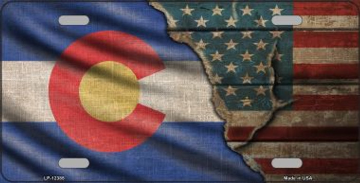 Colorado/American Flag Novelty Metal License Plate LP-12385