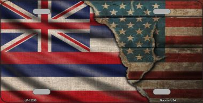 Hawaii/American Flag Novelty Metal License Plate LP-12390