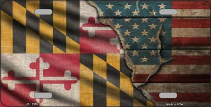 Maryland/American Flag Novelty Metal License Plate LP-12399