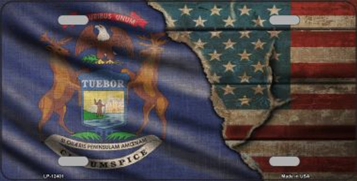 Michigan/American Flag Novelty Metal License Plate LP-12401