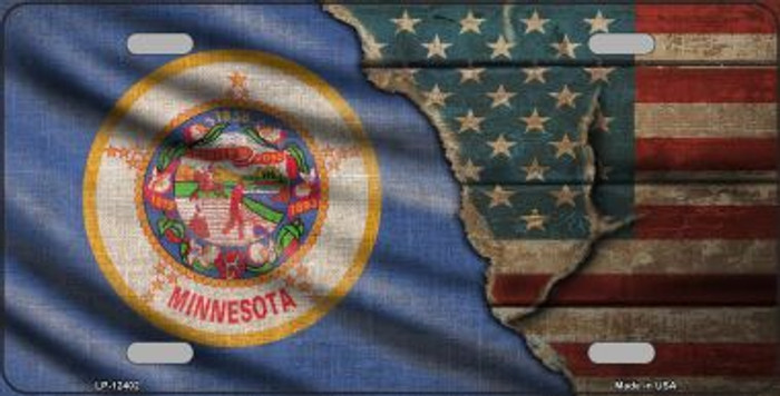 Minnesota/American Flag Novelty Metal License Plate LP-12402