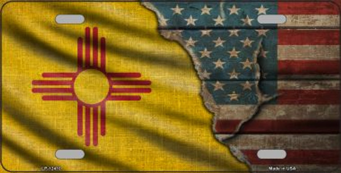 New Mexico/American Flag Novelty Metal License Plate LP-12410