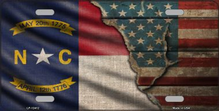 North Carolina/American Flag Novelty Metal License Plate LP-12412