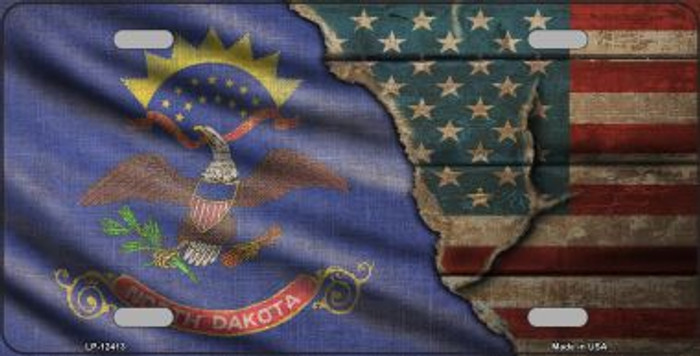 North Dakota/American Flag Novelty Metal License Plate LP-12413