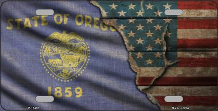 Oregon/American Flag Novelty Metal License Plate LP-12416