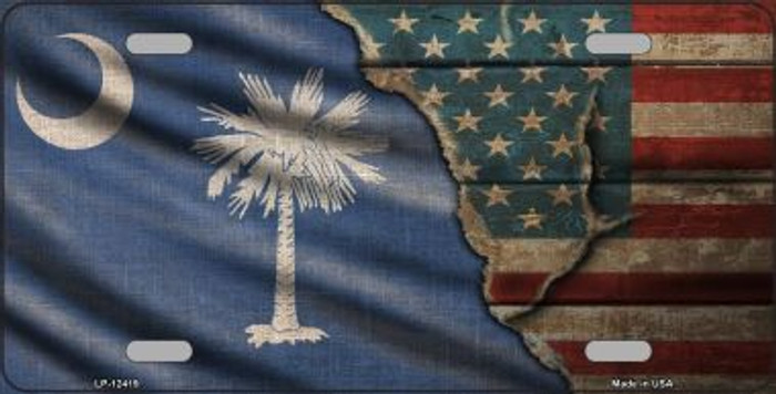 South Carolina/American Flag Novelty Metal License Plate LP-12419
