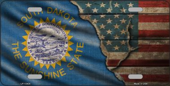 South Dakota/American Flag Novelty Metal License Plate LP-12420