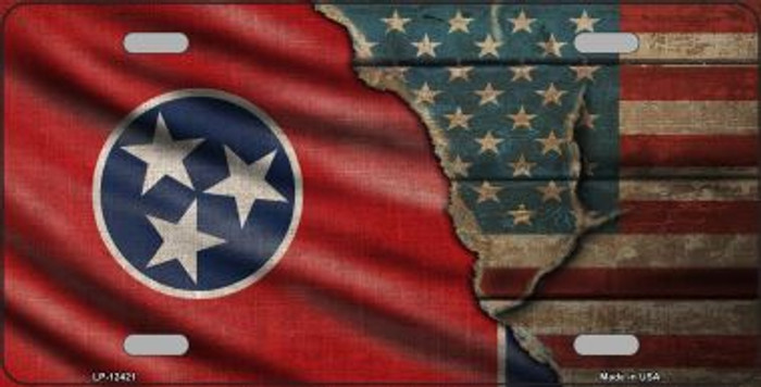 Tennessee/American Flag Novelty Metal License Plate LP-12421