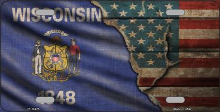 Wisconsin/American Flag Novelty Metal License Plate LP-12428