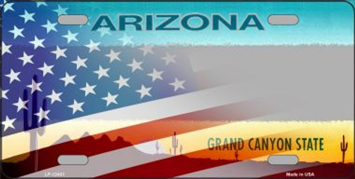 Arizona with American Flag Novelty Metal License Plate LP-12431
