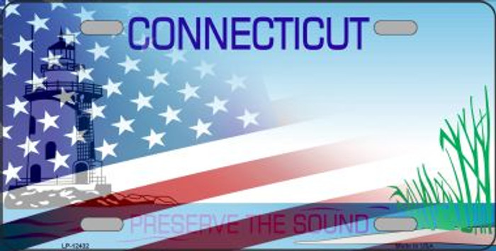 Connecticut with American Flag Novelty Metal License Plate LP-12432