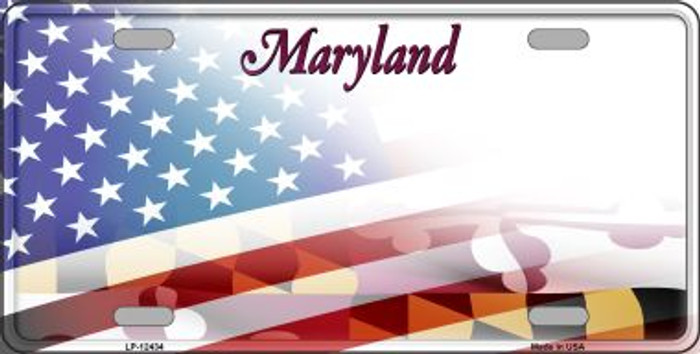 Maryland with American Flag Novelty Metal License Plate LP-12434