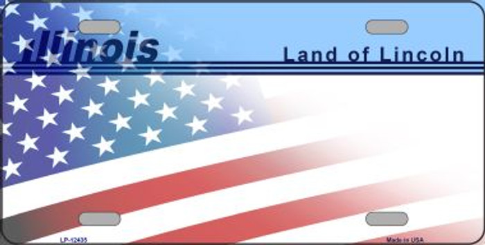 Illinois with American Flag Novelty Metal License Plate LP-12435