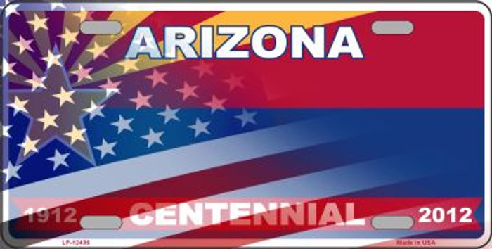 Arizona with American Flag Novelty Metal License Plate LP-12436