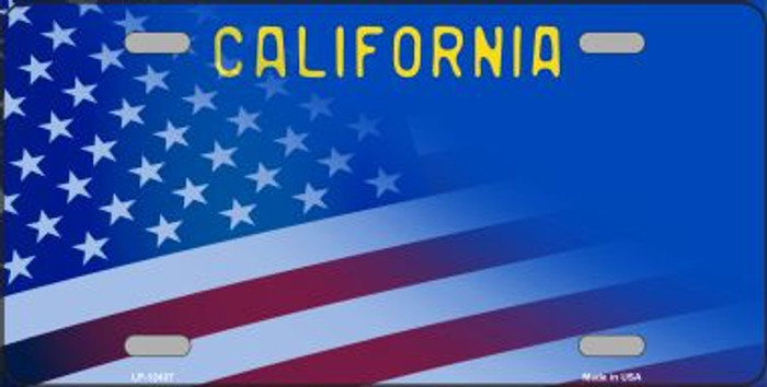 California with American Flag Novelty Metal License Plate LP-12437