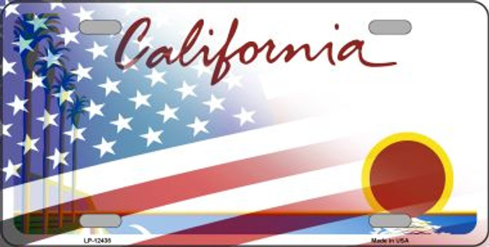 California with American Flag Novelty Metal License Plate LP-12438