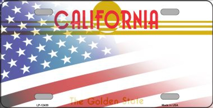 California with American Flag Novelty Metal License Plate LP-12439