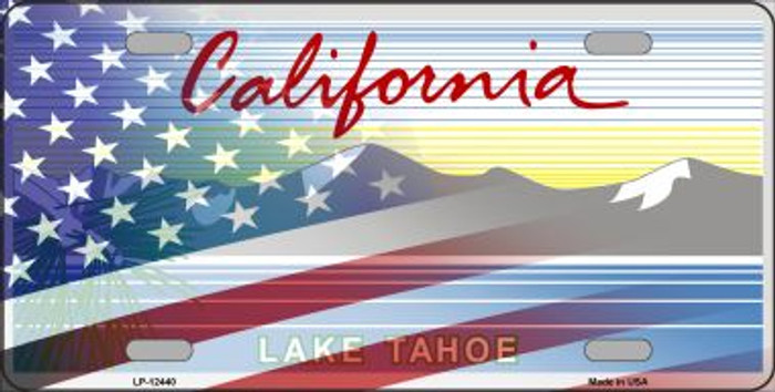 California with American Flag Novelty Metal License Plate LP-12440