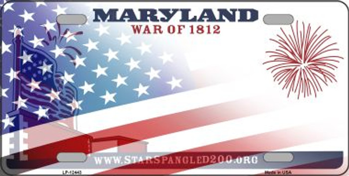 Maryland with American Flag Novelty Metal License Plate LP-12443