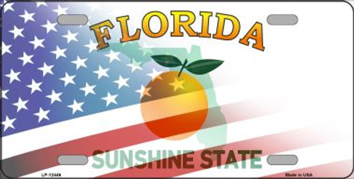 Florida with American Flag Novelty Metal License Plate LP-12446