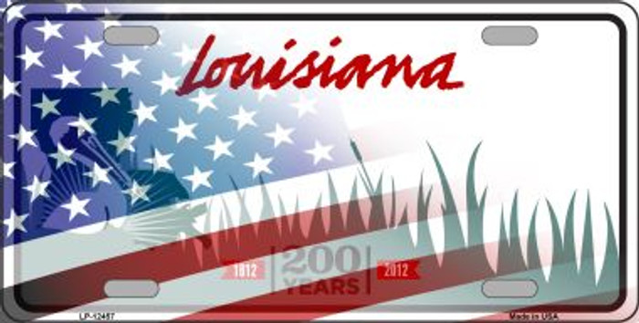 Louisiana with American Flag Novelty Metal License Plate LP-12457