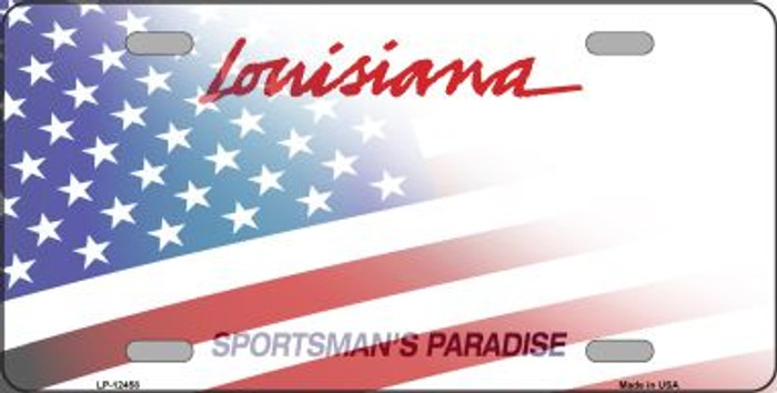 Louisiana with American Flag Novelty Metal License Plate LP-12458