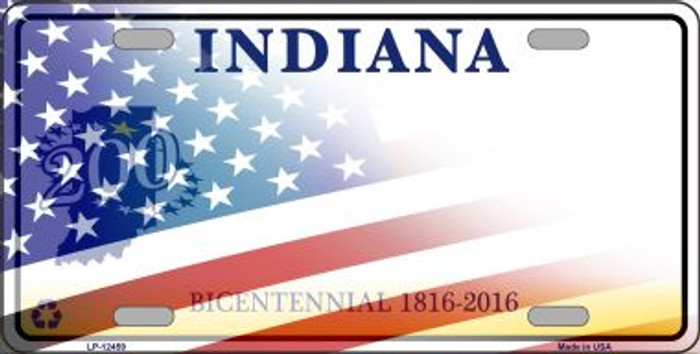 Indiana with American Flag Novelty Metal License Plate LP-12459