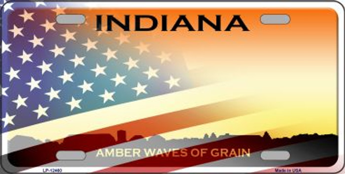 Indiana with American Flag Novelty Metal License Plate LP-12460