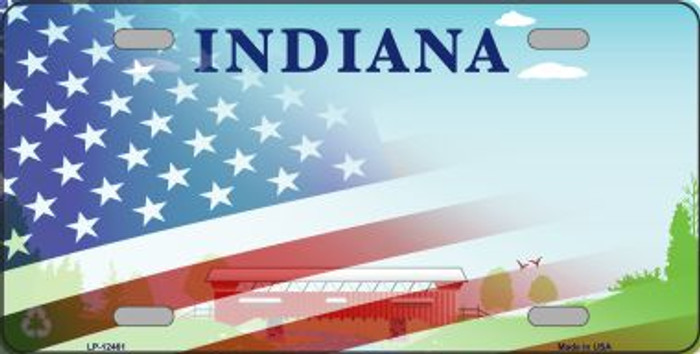 Indiana with American Flag Novelty Metal License Plate LP-12461