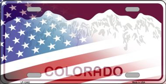 Colorado with American Flag Novelty Metal License Plate LP-12462