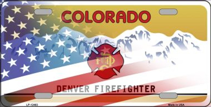 Colorado with American Flag Novelty Metal License Plate LP-12463