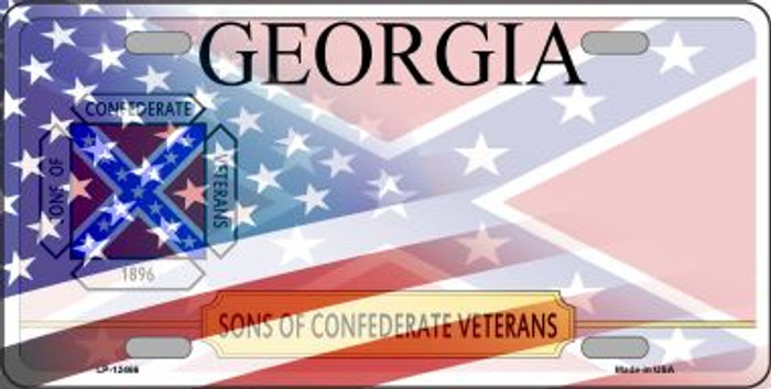 Georgia with American Flag Novelty Metal License Plate LP-12466
