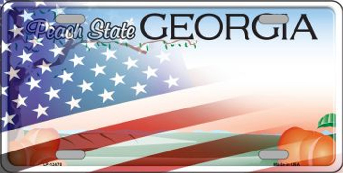 Georgia with American Flag Novelty Metal License Plate LP-12470