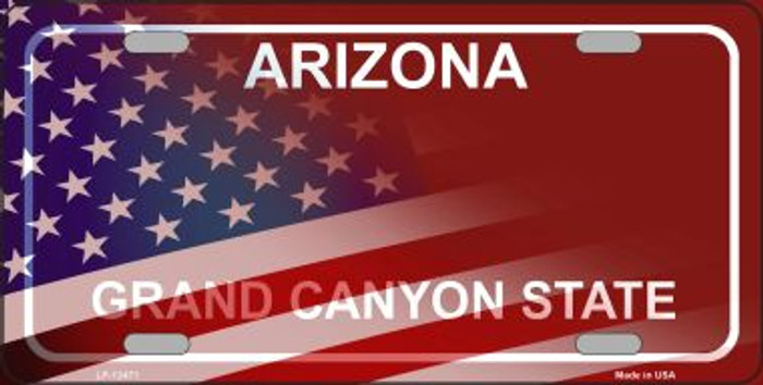 Arizona with American Flag Novelty Metal License Plate LP-12471