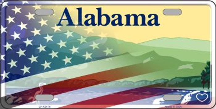 Alabama with American Flag Novelty Metal License Plate LP-12475