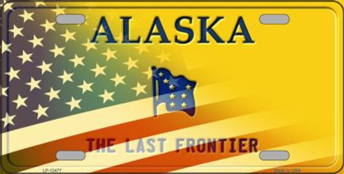 Alaska with American Flag Novelty Metal License Plate LP-12477