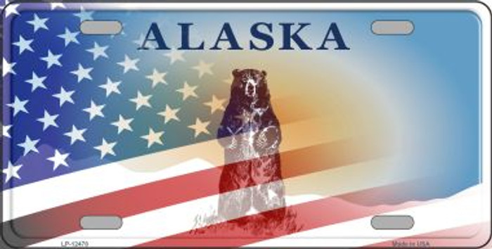 Alaska with American Flag Novelty Metal License Plate LP-12478