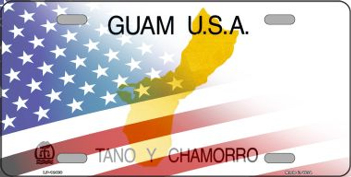 Guam with American Flag Novelty Metal License Plate LP-12480