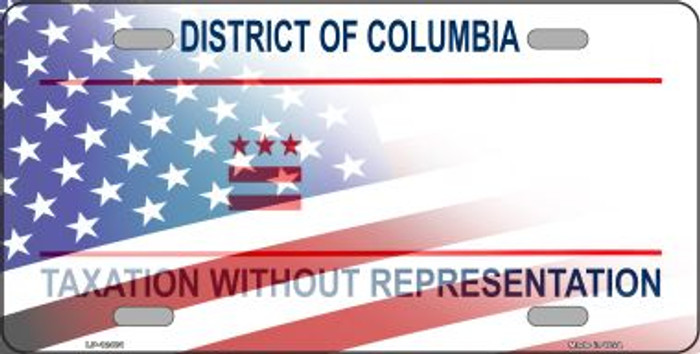District of Columbia with American Flag Novelty Metal License Plate LP-12481