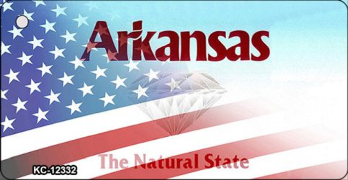 Arkansas with American Flag Novelty Metal Key Chain KC-12332