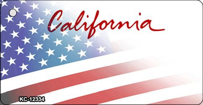 California with American Flag Novelty Metal Key Chain KC-12334
