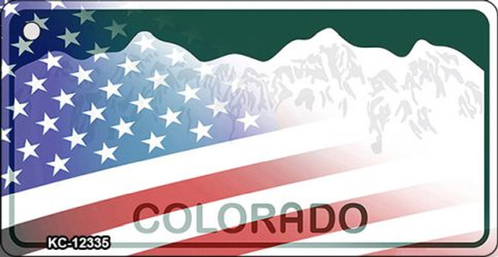 Colorado with American Flag Novelty Metal Key Chain KC-12335
