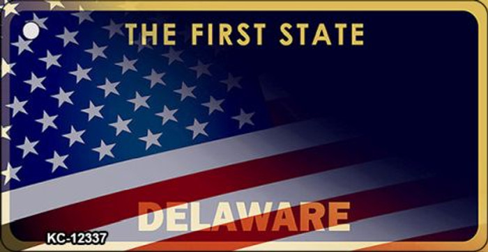 Delaware with American Flag Novelty Metal Key Chain KC-12337