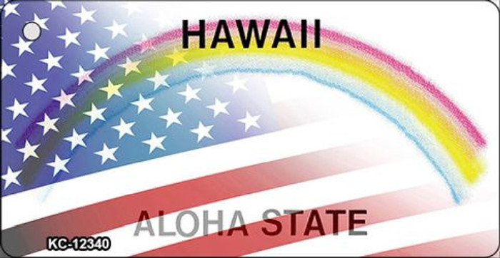 Hawaii with American Flag Novelty Metal Key Chain KC-12340