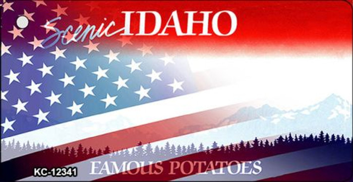 Idaho with American Flag Novelty Metal Key Chain KC-12341