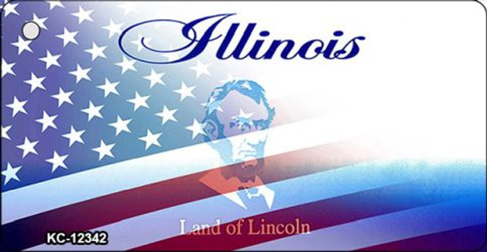 Illinois with American Flag Novelty Metal Key Chain KC-12342