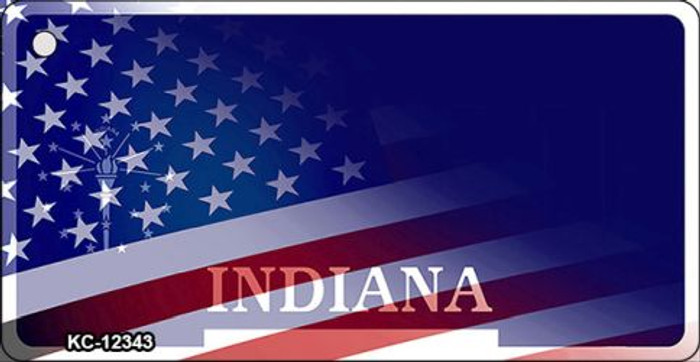 Indiana with American Flag Novelty Metal Key Chain KC-12343
