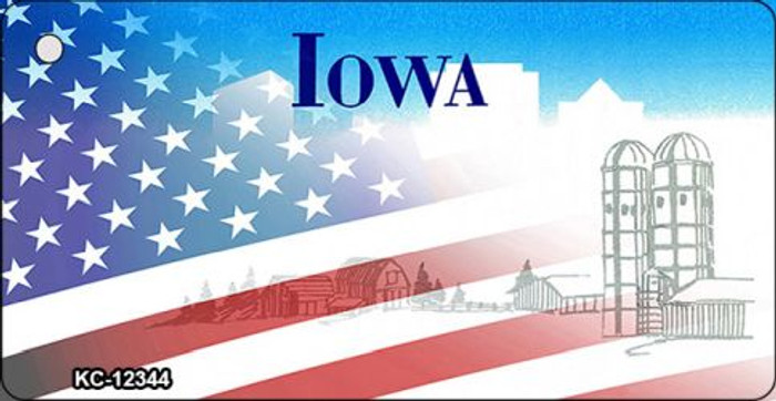 Iowa with American Flag Novelty Metal Key Chain KC-12344